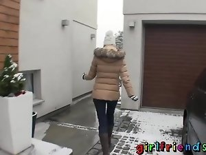 Girlfriends play in snow before warming up with hot sex