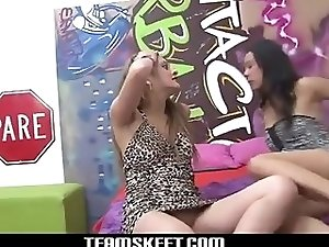 Unusual lesbian sex scene in bed